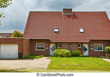 House with Garage - Two-storey Red Brick House with Garage