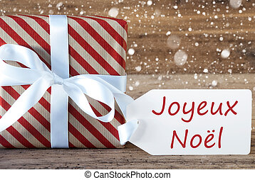 Present With Snowflakes, Text Joyeux Noel Means Merry...