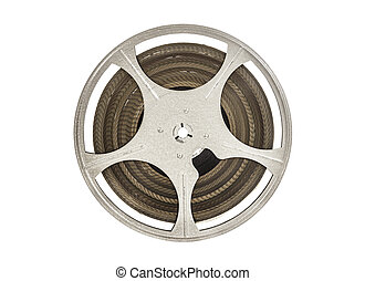 Vintage 8 mm Movie Film Reel Isolated on White - Vintage 8...