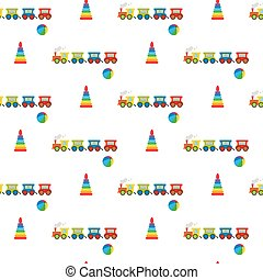 Pyramid, ball and locomotive. Seamless pattern. Vector...