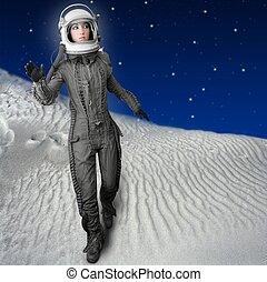 astronaute, femme, futuriste, lune, espace, planètes