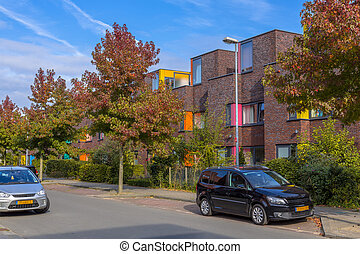 Family houses in a lively neighborhood - Colorful modern...