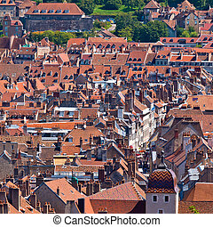 Old European City - View over the roofs of a Medieval...