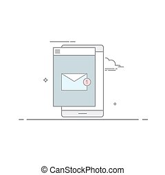 The e-mail on mobile phone or tablet in a linear style . A new message. Unread letter . Email marketing. Vector illustration isolated on white background.