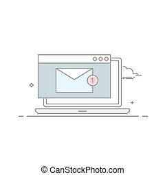 The e-mail on a laptop or nitebook in a linear style . A new message. Unread letter . Email marketing. Vector illustration isolated on white background.