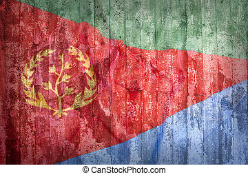 Grunge style of Eritrea flag on a brick wall for background