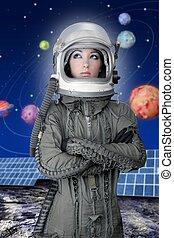 astronauta, Nave espacial, avión, casco, Moda, mujer