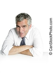 businessman senior portrait relax white desk - businessman...