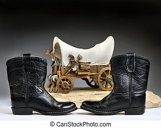 Cowboy High Times. - Kids cowboy black boots and chuck wagon...