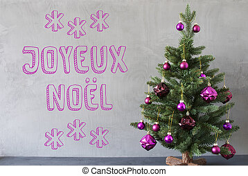 Tree, Cement Wall, Text Joyeux Noel Means Merry Christmas -...