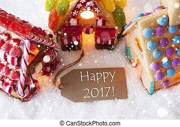 Colorful Gingerbread House, Snowflakes, Text Happy 2017 -...