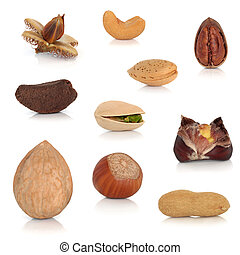 Nut Collection - Nut collection isolated over white...