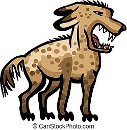 Snarling Hyena - Stylized illustration of a hyena showing...