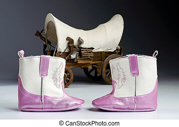 Pink Baby Boots. - Cute Pink baby boots with covered wagon...
