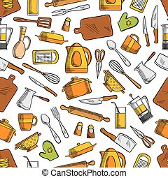 Kitchen utensils and appliances seamless pattern with spoon,...