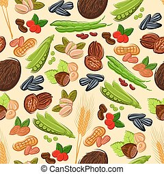 Nut, bean, seed and cereal seamless pattern - Healthy nut,...