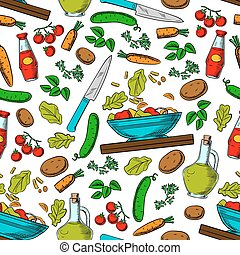 Vegetable salad seamless pattern with ingredients - Cooking...