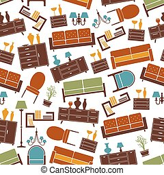 Living room furniture seamless pattern background -...