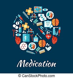 Pill symbol with flat icons of medication