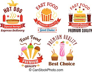 Fast Food icons. Snacks, drinks, desserts labels