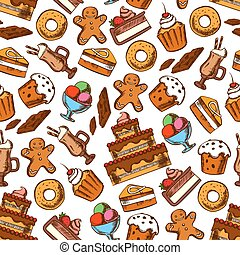Cakes, coffee and ice cream seamless pattern - Cakes and...