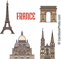 Architectural travel landmarks of France icon - Travel...