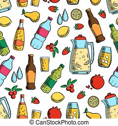Non-alcoholic drinks with fruits seamless pattern of water,...
