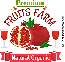 Pomegranate fruit symbol for food design - Fruits farm...