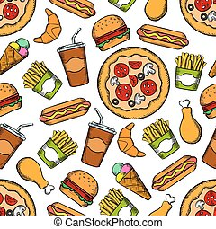 Fast food snacks, drinks seamless background