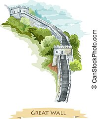 Chinese Great Wall. Watercolor icon