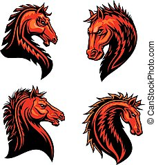 Flaming horse, mustang, bronco or racehorse mascot - Fire...