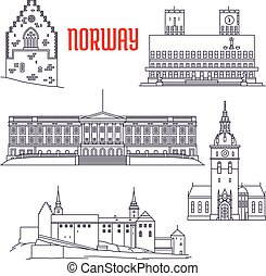 Travel sights of Norway icon in thin line style - Popular...