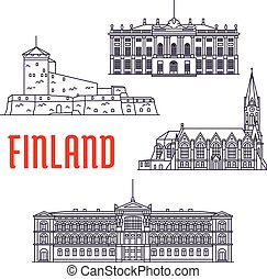 Travel landmarks of Finland and Denmark icon