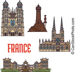 French travel landmarks icon, thin line style - French...