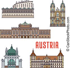 Historic buildings and architecture sightseeings of Austria...