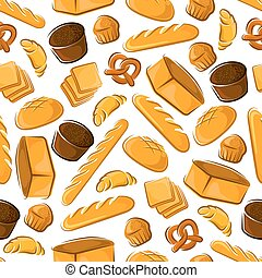 Bakery seamless pattern with bread and buns