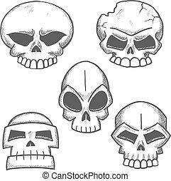 Old human or monster skulls sketches - Sketched skulls with...