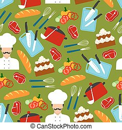 Chef cooking dinner seamless pattern - Chef with kitchen...