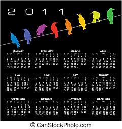 2011 vector calendar with birds