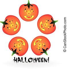 Halloween pumpkins logo vector