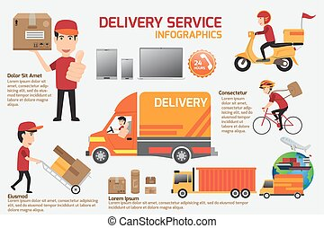 Delivery service infographics elements. Detail of people in uniform with set delivery service job character icons flat style with objects. vector illustration.