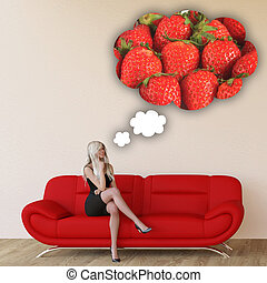 Woman Craving Strawberries and Thinking About Eating Food