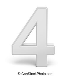 3D rendering white number 4 isolated on white background