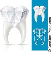Teeth strong, as diamond - Vector tooth in the shape of...