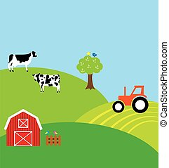 countryside - vector countryside with cows