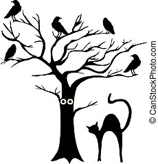 tree with crows - vector tree with crows and cat