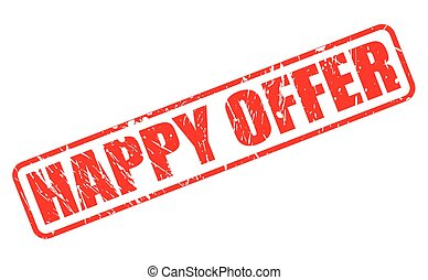 HAPPY OFFER red stamp text on white