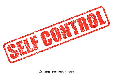 SELF CONTROL red stamp text on white