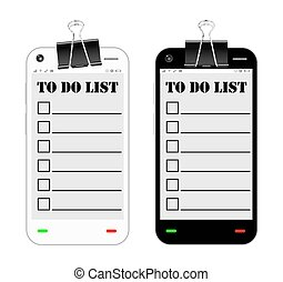 smartphone with to do list on a screen