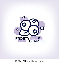 Frosty berries flat icon - Blueberries vector flat icon with...